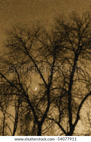 paintings of trees at night. stock photo : Oil painting
