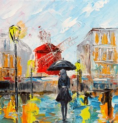 oil painting, woman with an umbrella, walk in Paris, artwork on canvas