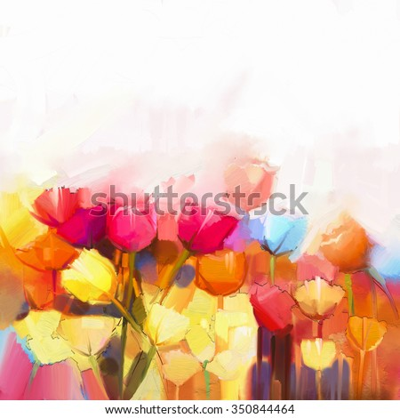 Oil painting yellow, pink and red Tulips flowers field. Landscape - Flowers in meadow at daylight with soft color background. Spring flowers nature background