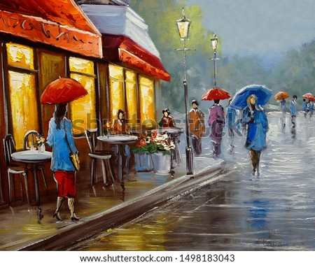 Oil paintings landscape, city, fine art.