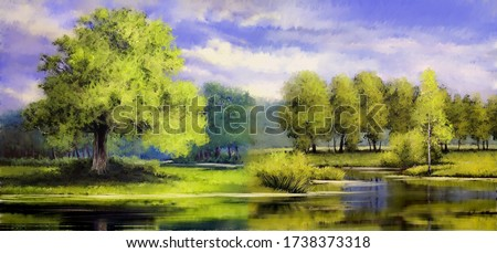 Oil paintings landscape, landscape with trees and lake. Fine art