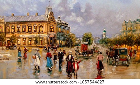 Oil paintings rural landscape. Fine art. Old city.
