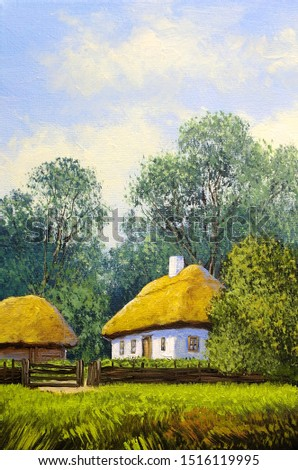 Oil paintings rural landscape, house in the forest. Fine art