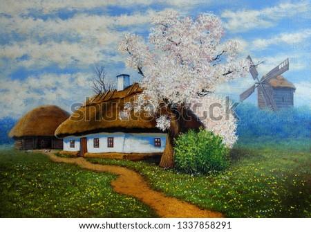 Oil paintings rural landscape. Old village, old wooden house. Fine art.