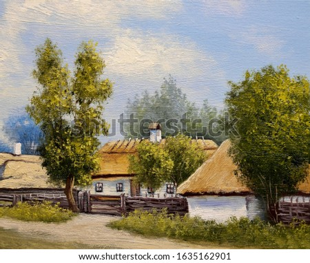Oil paintings rural landscape, old wooden house in the village. Fine art.