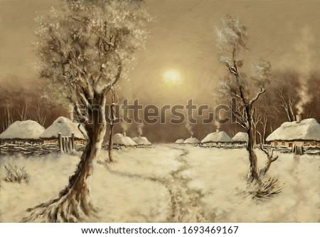Oil paintings rural landscape, winter, old village. Fine art.