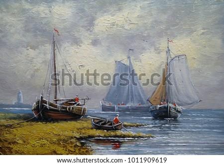 Oil paintings sea landscape, fisherman, fine art, boats, ships.