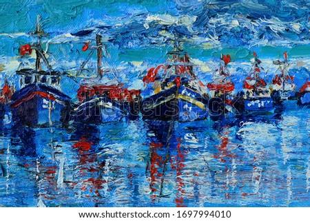 Oil paintings. Sea landscape, ships, boat. Fine art.