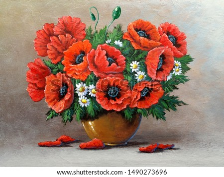 Oil paintings still life, bouquet of flowers in a vase on wooden background. Fine art