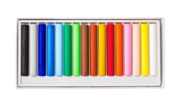 Oil pastels color in box isolated on white background, Save clipping path.