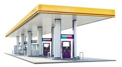 Oil petrol dispenser station isolated on white background with clipping path