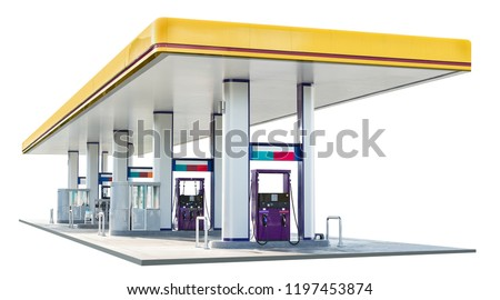 Oil petrol dispenser station isolated on white background with clipping path #1197453874