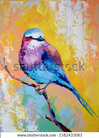 Oil pichuga portrait painting in multicolored tones. Conceptual abstract painting of a bird. Closeup of a painting by oil and palette knife on canvas.