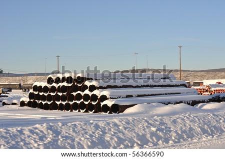 Oil Pipeline Storage Area - stock photo