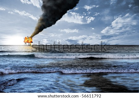 Oil platform accident and black petroleum tide polluted the ocean waters