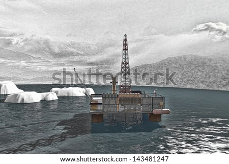 Oil platform in the Arctic Ocean