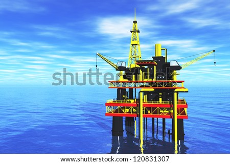 Oil Platform in the Sea  3D render