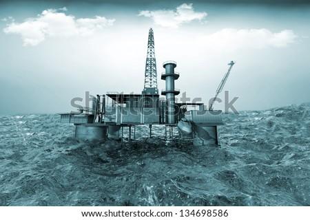 Oil platform on background of ocean