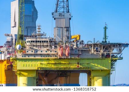 Oil platforms under maintenance near Bergen, Norway. #1368318752