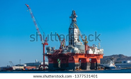 Oil platforms under maintenance near Bergen, Norway. #1377531401