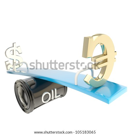 Oil price change deviation as euro and dollar on a seesaw isolated on white
