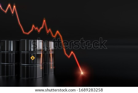 Oil price collapse. Coronavirus covid-19 impact on oil market: Brent crude, Urals, US West Texas WTI, Dubai, Arab light. Saudi Arabia vs Russia oil price war. 3D background: barrels, price chart crash