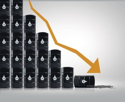 Oil price drop concept as a barrel of crude petroleum arrow down on a financial chart as a symbol for declining prices in fossil energy due to oversupply and overproduction,