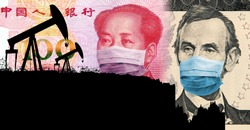 Oil price war triggered by coronavirus. Oil prices are crashing. Silhouette of oil pumps that transforms to the chart with oil price vs USD (as of March 2020). Dollar and Yuan with face masks.