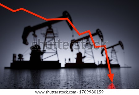 Oil prices collapse and goes to zero, conceptual dark image with three oil pumps oil rigs in out of focus blur background and WTI crude oil price chart red arrow down 3D render