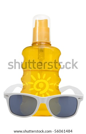 oil product, sun protection and sunglasses on white background
