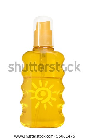 oil product, sun protection on white background