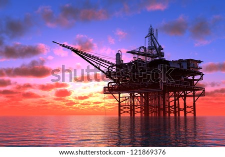 Oil production in the sea.