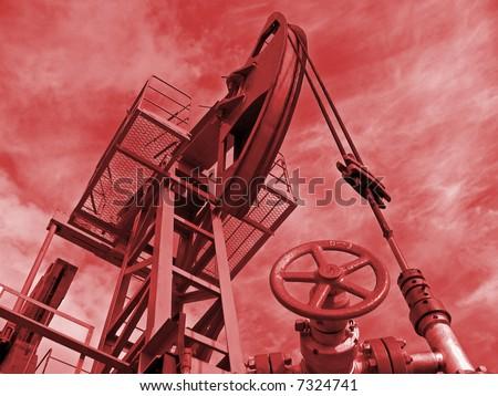 Oil pump in work. Siberia.