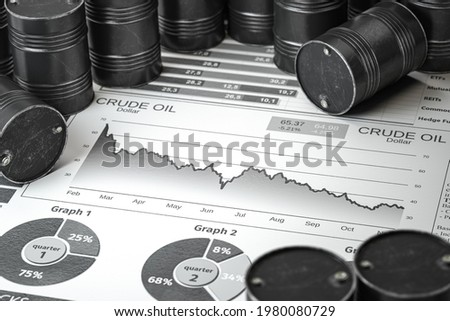 Oil pump jack and barrels on newpaper with gdecrease of price of crude oil. Crisis on stock market of crude oil, investment and petroleum industry. 3d illustration Stockfoto ©