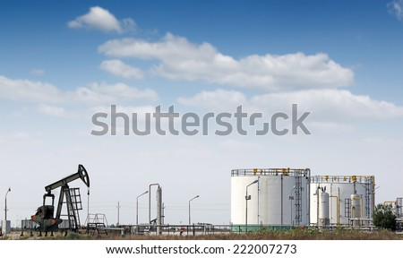 oil pump jack and refinery