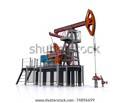 oil pump-jack on a white background. 3d rendering