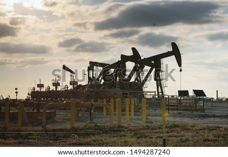Oil Pump Unit Pumping in the Eagle Ford in South Texas