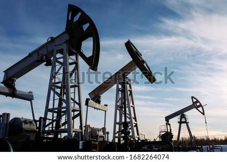 oil pumpers pump oil in the field Сток-фото ©