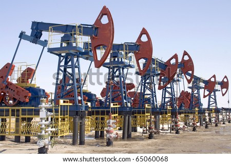 Oil pumps in West Siberia. Oil extraction