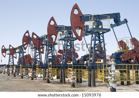 Oil pumps in West Siberia. Oil industry equipment.