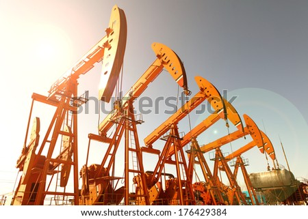 Oil pumps. Oil industry equipment.  #176429384
