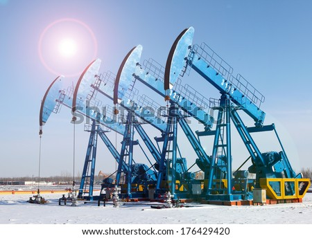 Oil pumps. Oil industry equipment.  #176429420
