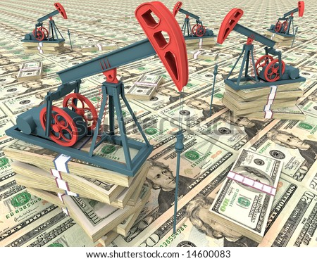 Oil pumps on dollar banknotes. Conceptual 3D illustration.
