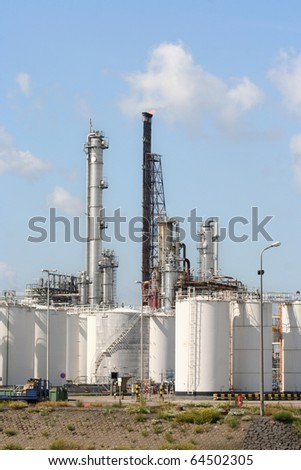 Oil refinery and depots in Rotterdam harbor area
