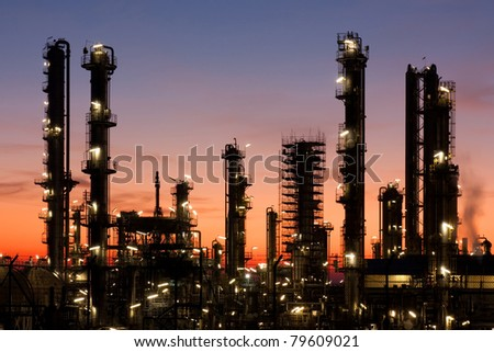 Oil refinery at sunset, petrochemical industry
