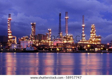Oil Refinery At Twilight 2 - stock photo