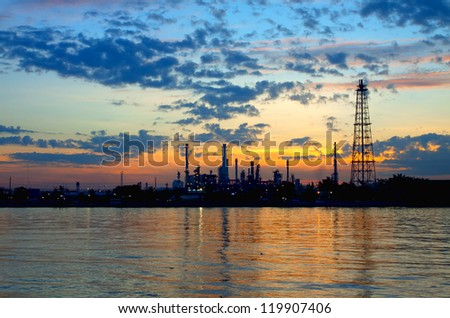 Oil refinery at twilight,Chao Phraya river in the morning, Thailand