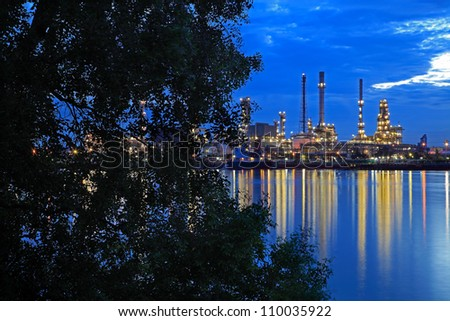 Oil refinery at twilight,Chao Phraya river, Thailand