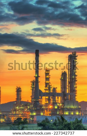 Oil refinery at twilight sky #227342737