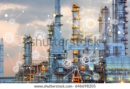 Oil refinery at twilight with cyber and physical system icons diagram on industrial factory and infrastructure background,Industry 4.0 concept image.